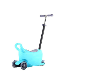 3 in 1 Multifunction Stroller Light-up Scooter Walker and Storage Box - Blue