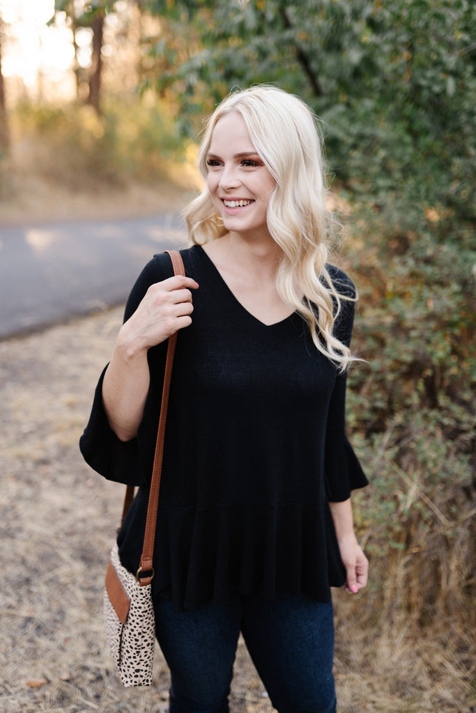 Onyx Bell Sleeve Peplum Top