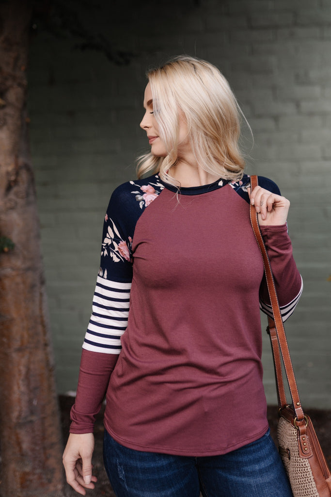 Floral Color Block Long Sleeve Tee