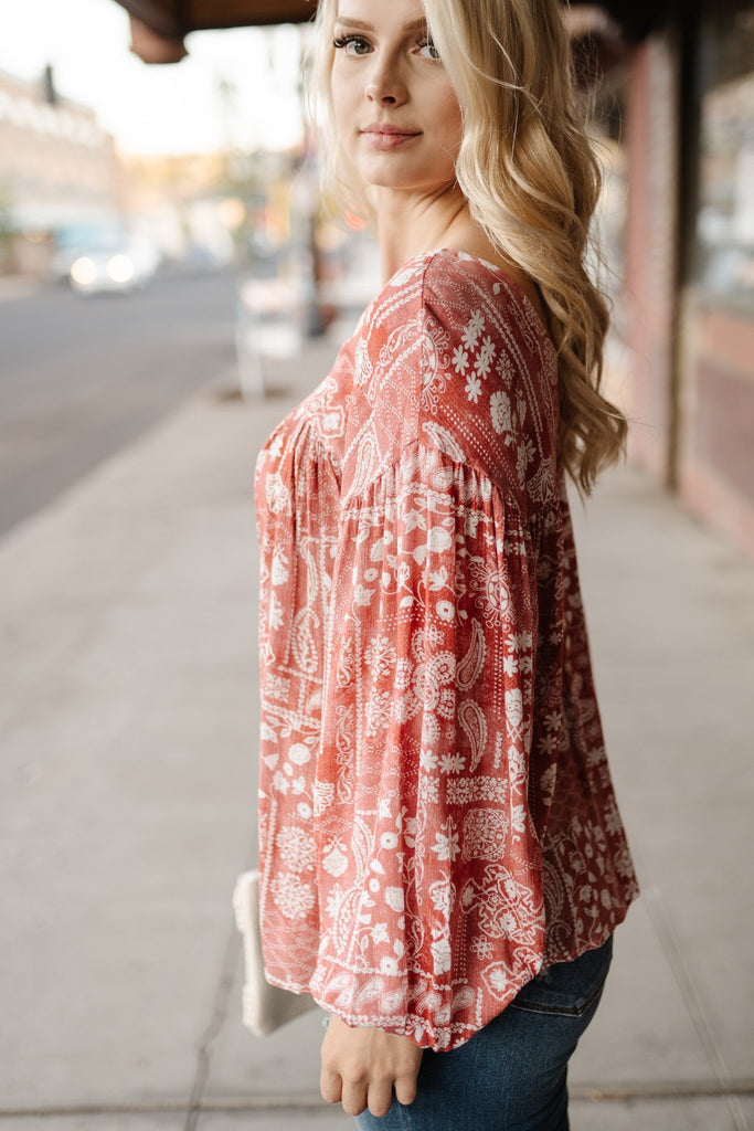 Rust Patterned Blouse
