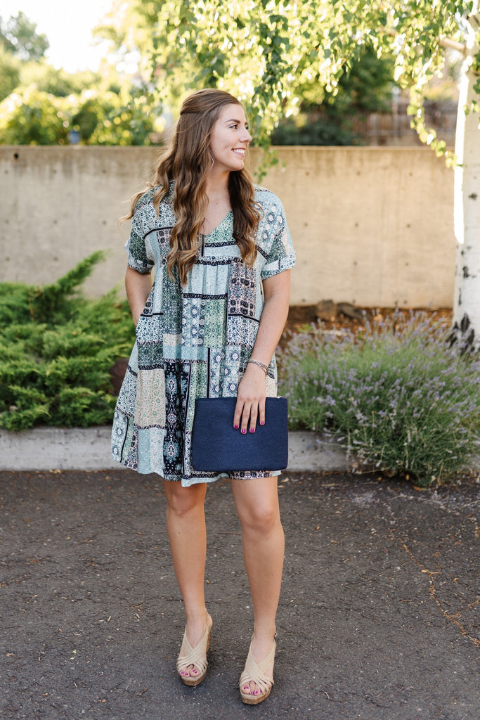 Blue Patchwork Dress