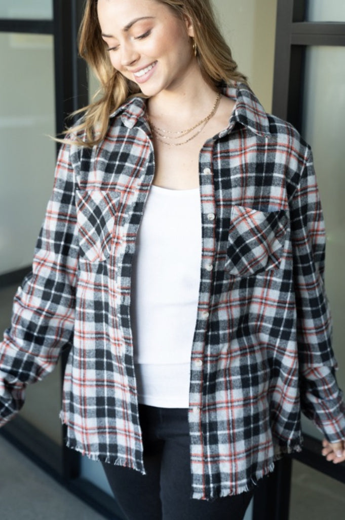 Breaking Hearts Plaid Flannel Top