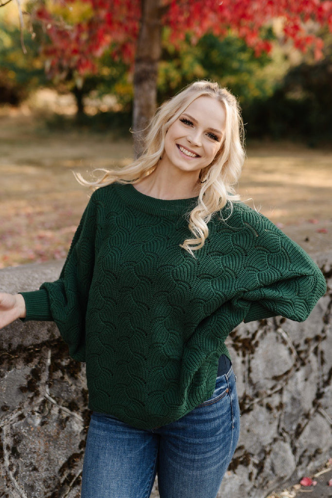 Hunter Green Dolman Sweater