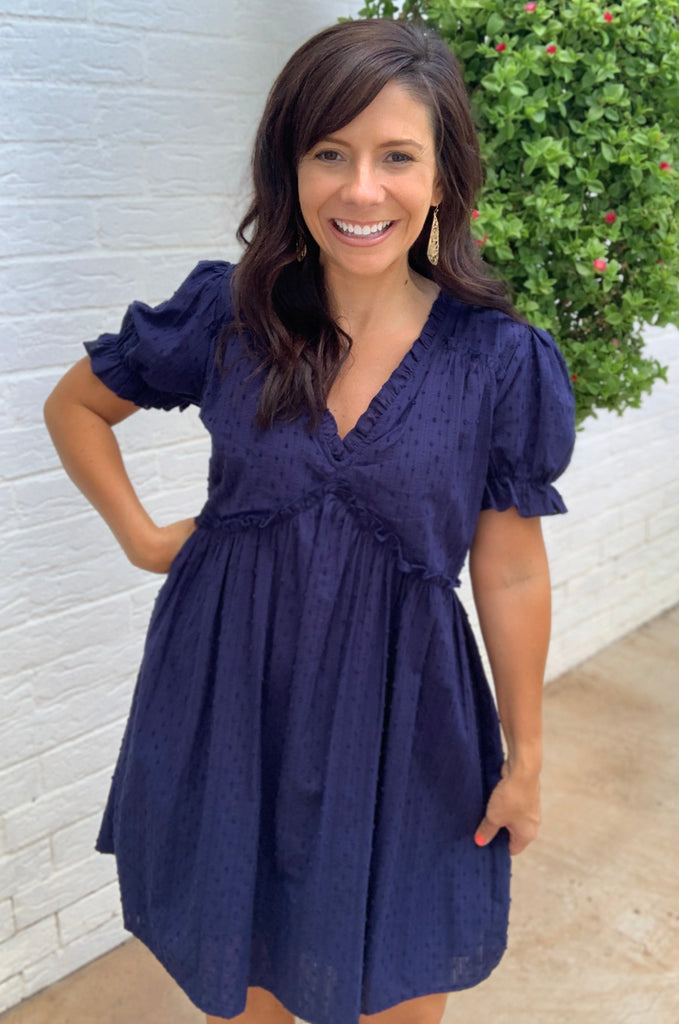 Navy V-Neck Eyelet Dress