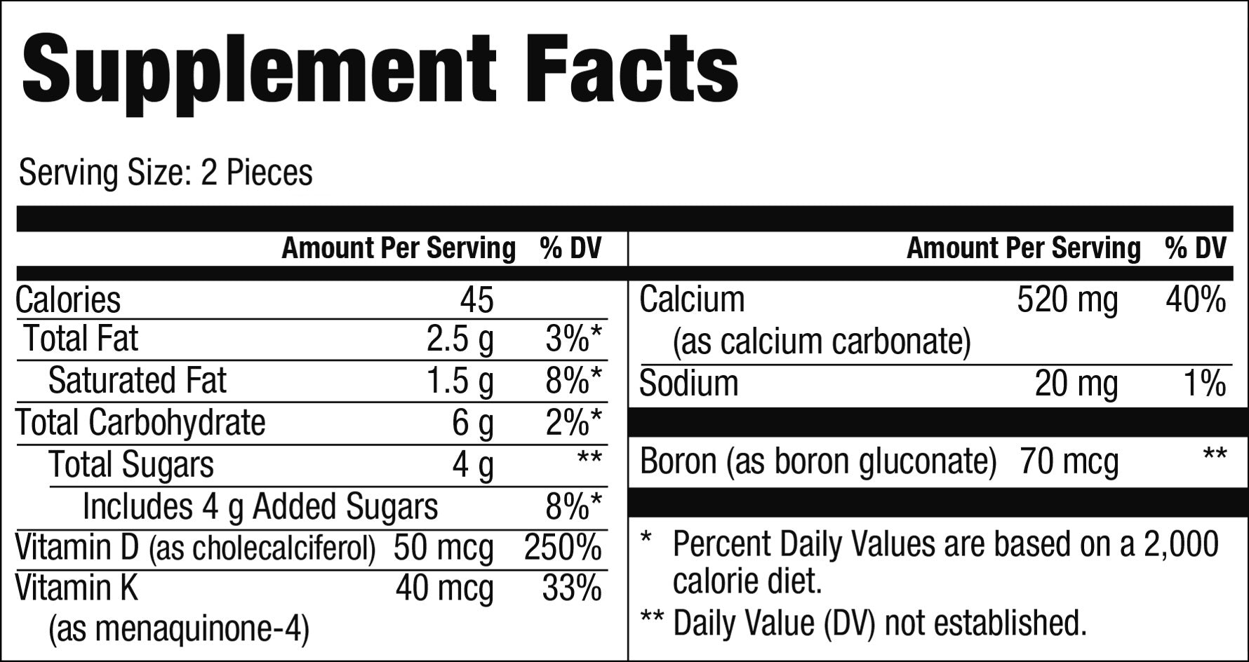Calcium Supplement Facts