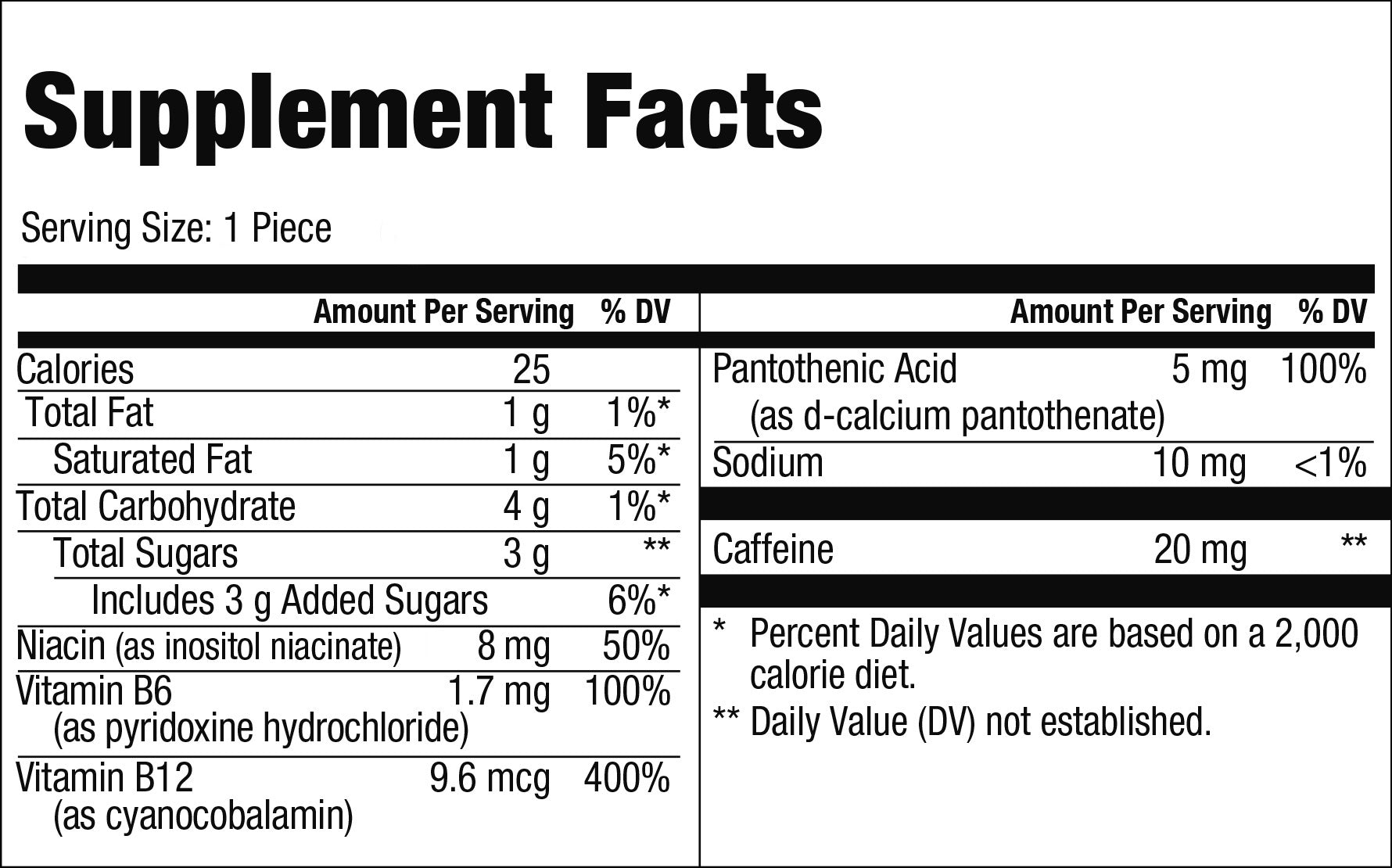 Energy Supplement Facts
