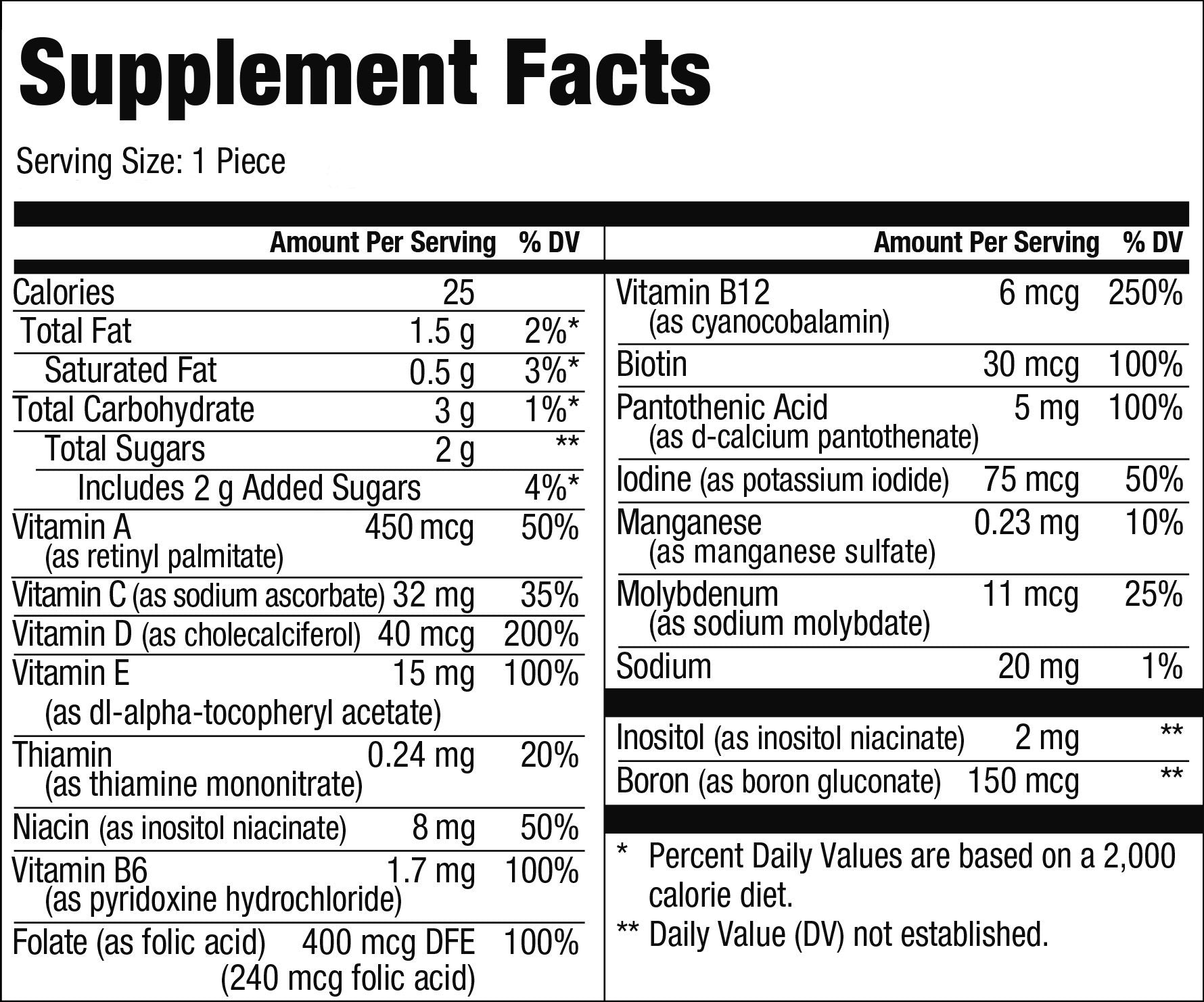 Multi Supplement Facts