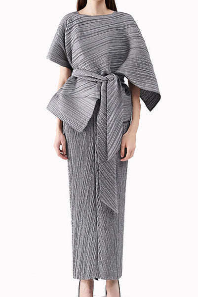 2-Piece Pleats Please Jacket & Maxi Dress Set