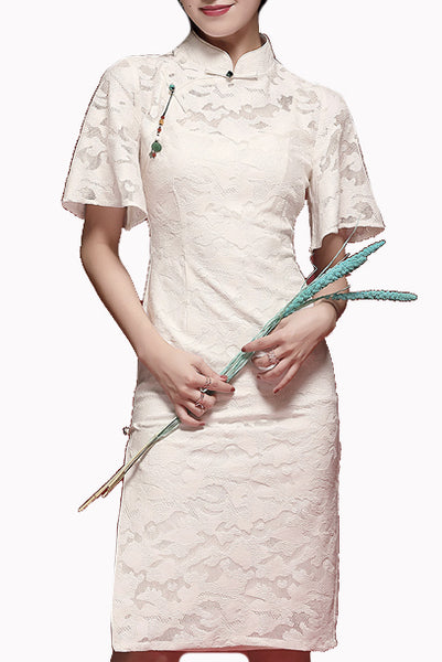 Bell Sleeves White Lace Bridal Cheongsam