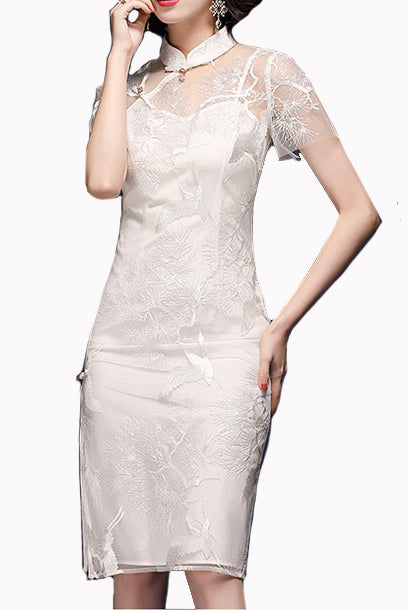 Short Sleeves White Lace Qipao Cheongsam