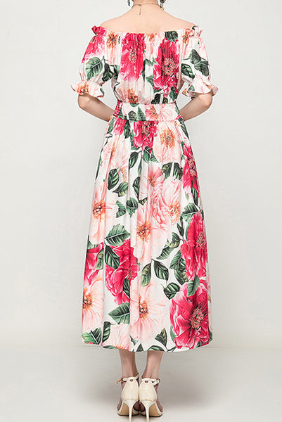 Off-the-shoulder Camellia Smocked Waist Midi Dress