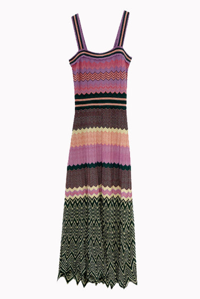 Chevron Knitted Midi Dress