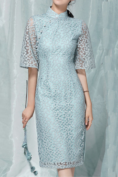Elbow Bell Sleeves Blue Lace Qipao Cheongsam