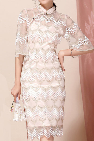 Elbow Bell Sleeves Pink Lace Qipao Cheongsam