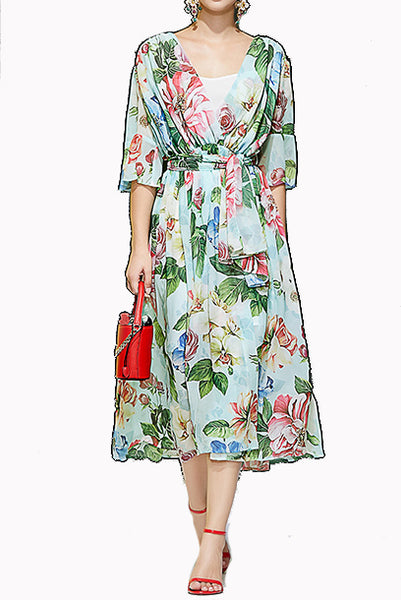 Elbow Sleeves Blue Floral Chiffon Dress