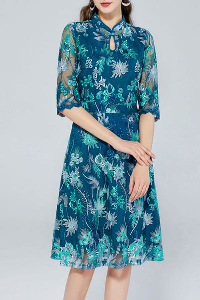 Elbow Sleeves Embroidered Floral Blue Qipao Cheongsam