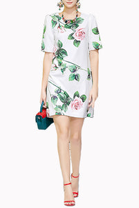 Elbow Sleeves White Tropical Rose Shift Dress