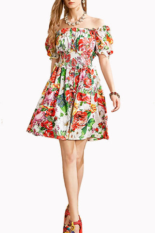 Off Shoulder Floral Tiered Mini Dress