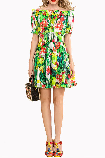 Off Shoulder Green Floral Tiered Mini Dress