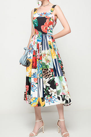 Patchwork Pleated Dress with Straps