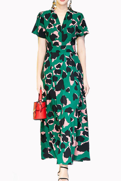 Short Sleeves Camouflage Graphics Print Maxi Dress