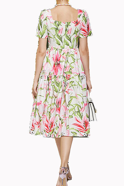 Short Sleeves Pink Floral Print Dress