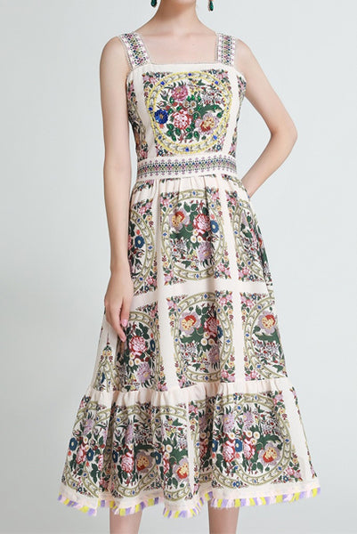 Sleeveless Embellished Floral Fit & Flare Midi Dress