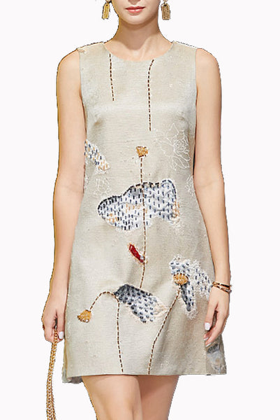 Sleeveless Floral Patchwork Sheath Dress