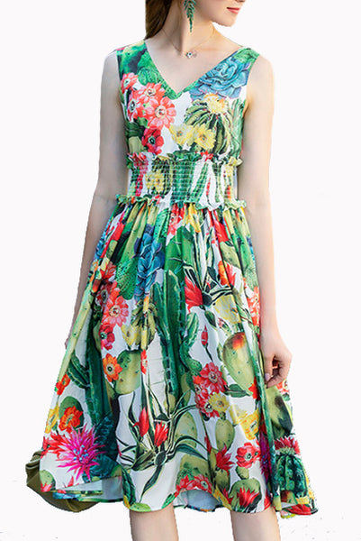 Cacti Floral Printed Green Smocked Waist Dress