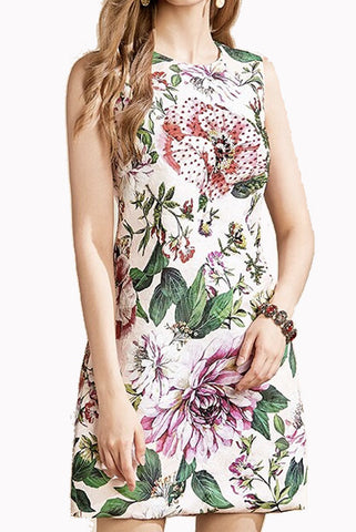 Sleeveless Pink Floral Sheath Dress