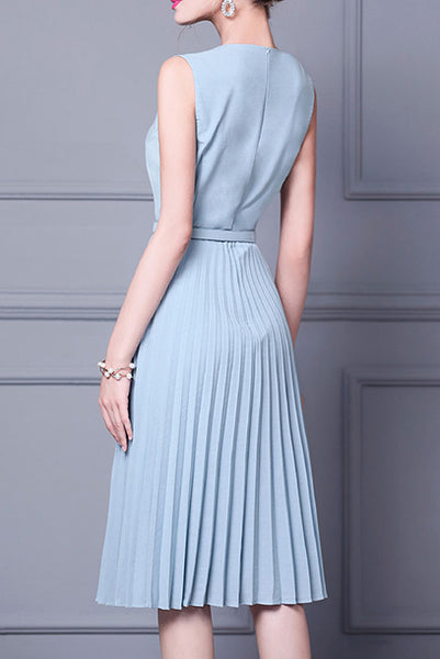 Sleeveless Pleated Blue Dress
