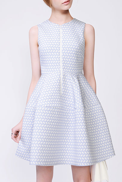 Sleeveless Printed Jacquard Skater Dress