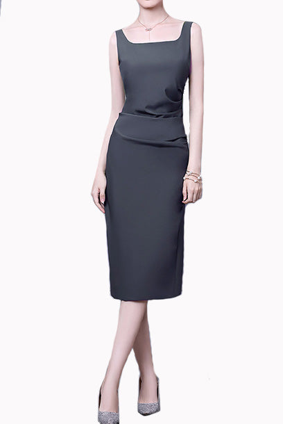 Sleeveless Ruched Black Pencil Dress Office Wear