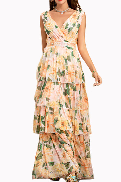 Sleeveless V Neck Camellia Printed Tiered Skirt Dress