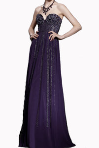 Strapless Embellished Purple Evening Gown