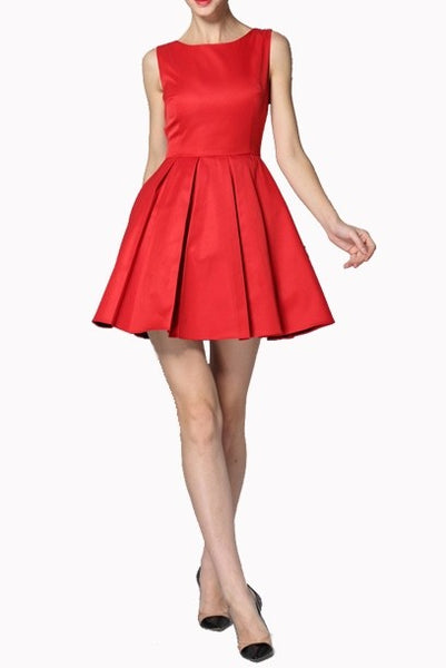 Sleeveless Skater Red Mini Dress