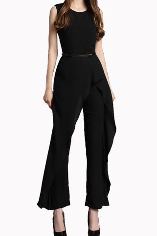 Sleeveless Asymmetrical Ruffled Playsuit Jumpsuit