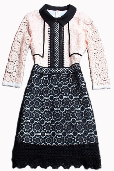 Lace Colorblock Long Sleeves Dress