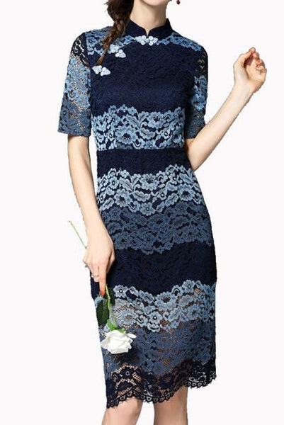 Short Sleeves Colourblock Lace Cheongsam