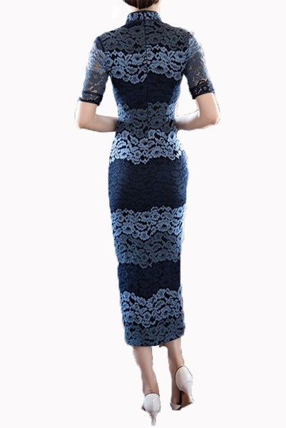 Short Sleeves Lace Colourblock Maxi Cheongsam