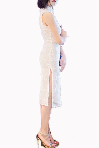 Sleeveless White Eyelet Sequin Midi Cheongsam