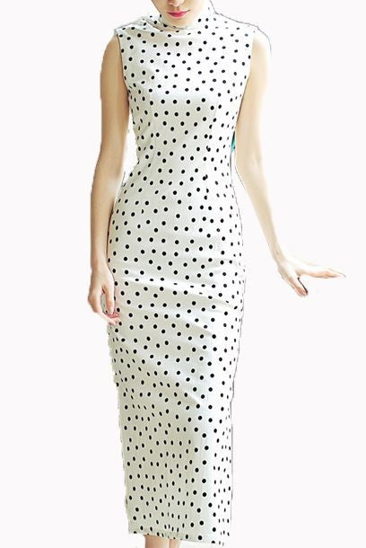 Sleeveless Polka Dots White Midi Cheongsam