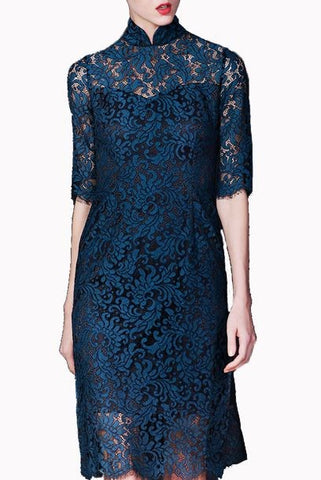 Short Sleeves Teal Lace Cheongsam
