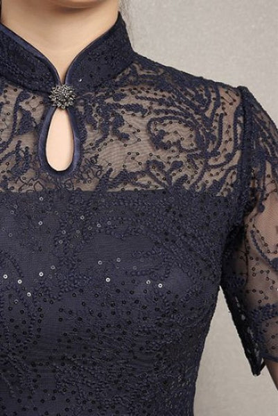 Short Sleeves Blue Sequin Lace Cheongsam