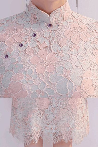 Short Sleeves Pink Colourblock Lace Skater Cheongsam