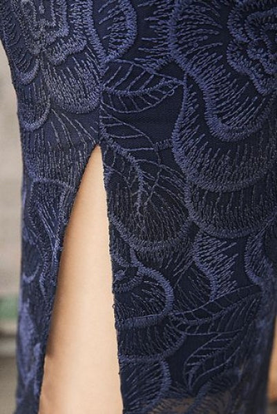 Short Sleeves Blue Floral Lace Cheongsam