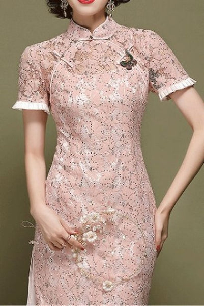 Short Sleeves Pink Sequin Lace Cheongsam