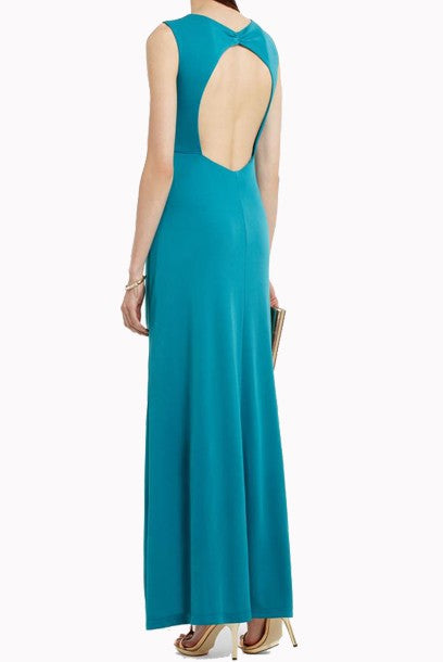 Petite Sleeveless Draped Evening Gown