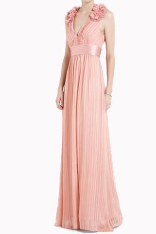 Petite BCBG Sleeveless V Neck Pink Evening Gown