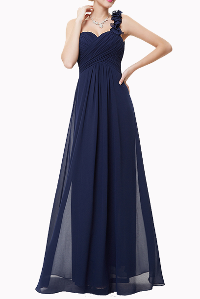 One Shoulder Petals Navy Evening Gown